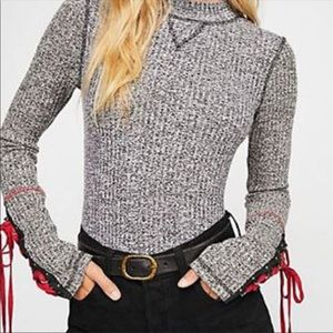 Free People Mountaineer Lace-Up Sleeve sweater